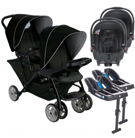 Graco Stadium Duo Double Pram Twin Travel System with 2 Snugride Car Seat Bases - Black / Grey